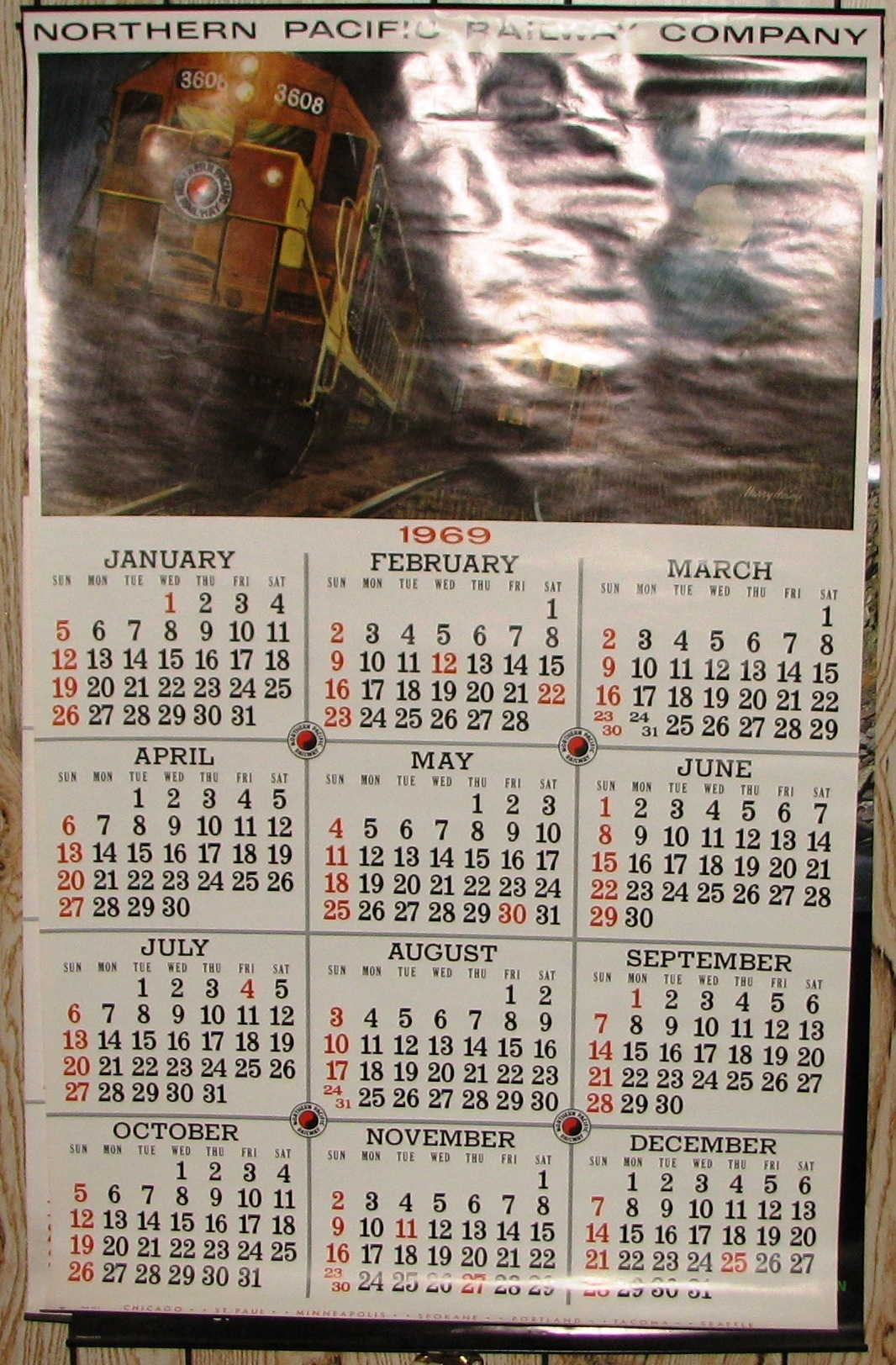 Calendar 1969.1969 Northern Pacific Calendar In Excellent Condition Mandan Nd